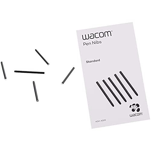 Wacom ACK-20004 -Punta lápiz para Tarjetas gráficas, Negro + ACK-20001 Punta de bolígrafo Digital (Pack de 5 Unidades)