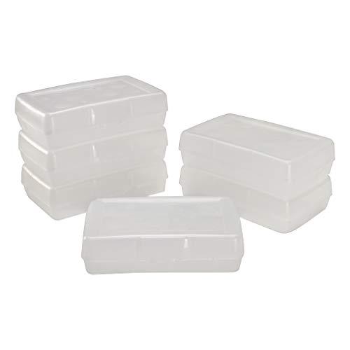 Storex Pencil Case, 8.38 x 5.63 x 2.5 Inches, Clear, Box of 24 (61622U24C)