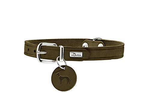 HUNTER AALBORG Hundehalsband, Leder, schlicht, robust, komfortabel, 32 (XS), oliv