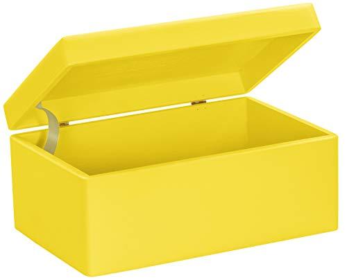 LAUBLUST Große Holzkiste mit Deckel - 30x20x14cm, Gelb, FSC® | Allzweck-Kiste aus Holz - Aufbewahrungskiste | Spielzeug-Truhe | Erinnerungsbox | Geschenk-Verpackung | Deko-Kasten zum Basteln