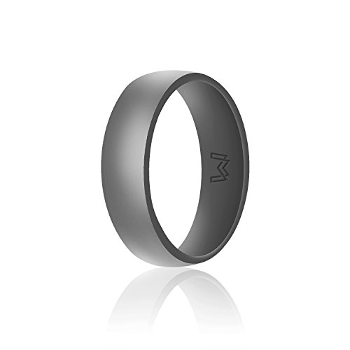 WIGERLON Mens Silicone Wedding Ring&Rubber Wedding Bands for Workout and Sports Width 8mm Color Grey Size 10
