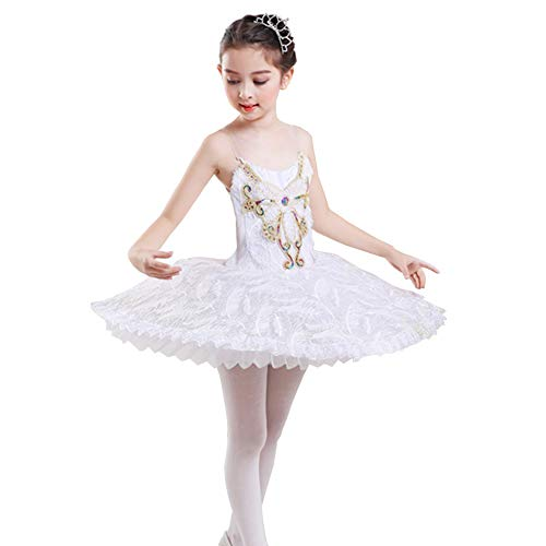 Ni. Falda de ballet para niños con falda de baile de cisne para niña de encaje de ballet de baile de hada princesa bailarina disfraz, color Blanco B, tamaño 160 cm