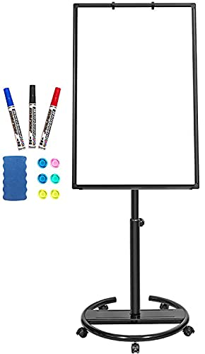 Mobile Whiteboard – 36 x 24 inches Portable Magnetic Dry Erase Board Stand Easel White Board Dry Erase Easel Standing Board w/ Flipchart Hooks ( Black )