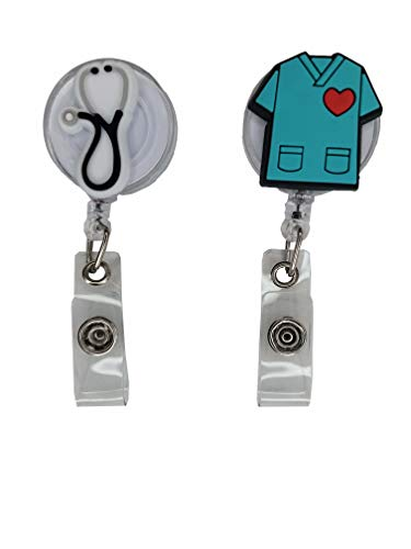 2 Pack Retractable Medical Badge/Key Card/ID Holder with Clip – White Clip Scrub and Stethescope – Name / ID Card Holders for Nurse, Doctor, Dentist, EMT, Paramedic. Medical