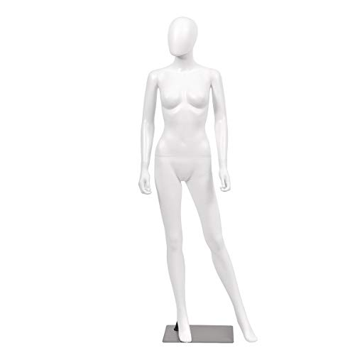 Giantex 5.8 FT Female Mannequin Adjustable Detachable Manikin with Metal Stand Plastic Full Body, White