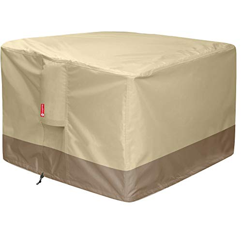 "Gas Fire Pit Cover Square - 600D Heavy Duty Patio Outdoor Fire Pit Table Cover with PVC Coating,100% Waterproof,Air Vents,Fits for 30 / 31 / 32 inch Fire Pit / Table Cover (32""L x 32""W x 24""H,Beige)"