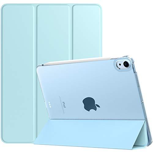 TiMOVO Funda para Nuevo iPad 10.9 Inch, iPad Air 4.ª Generación 2020, Cubierta de Tres Plegables con Posterior Transparente TPU Ligera con Auto Sueño/Estela, Azul Claro