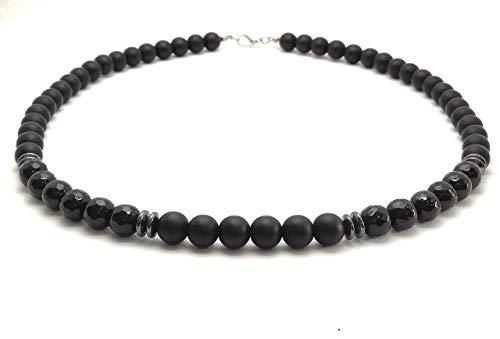 Collar Cadena redonda hecha de perlas 10mm Ónix facetado Hematita cadena corta negra mate para hombres mujeres hombres biker rocker surfer jewelry/ALLA