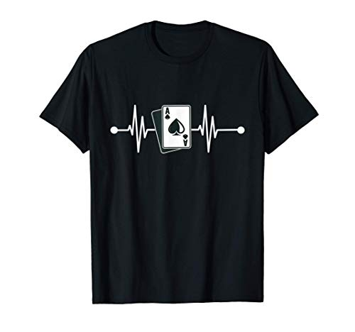 Cartas Póker Casino Latidos Corazón Pulso Juegos Azar Jugar Camiseta