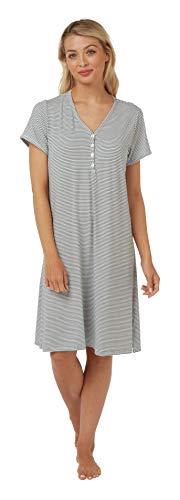 Indigo Sky Damen Kurzarm-Nachthemd mit V-Ausschnitt, weiches Jersey-Nachthemd. Silber Leopard oder schwarz/weiß gestreift Gr.54/56, gestreift