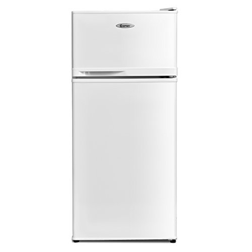 COSTWAY Compact Refrigerator, 3.4 cu. ft. Classic Fridge with Reversible Door, Adjustable Removable Glass Shelves, Mechanical Control, Recessed Handle for Dorm, Office, Apartment (White)