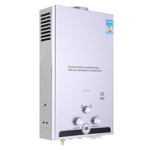 Z ZELUS 12L Gas-Durchlauferhitzer LPG Warmwasserbereiter Heißwasserbereiter Durchlauferhitzer Boiler Warmwasserspeicher Tankless Instant mit LED Bildschirm (12L)