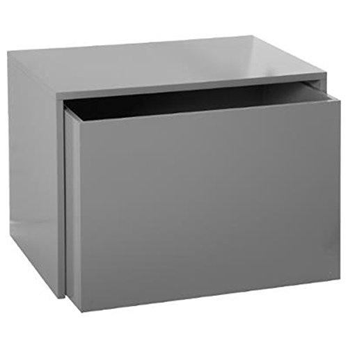 PEGANE Coffre avec tiroir Coloris Gris en MDF - Dim : L58 x l42 x H38 cm