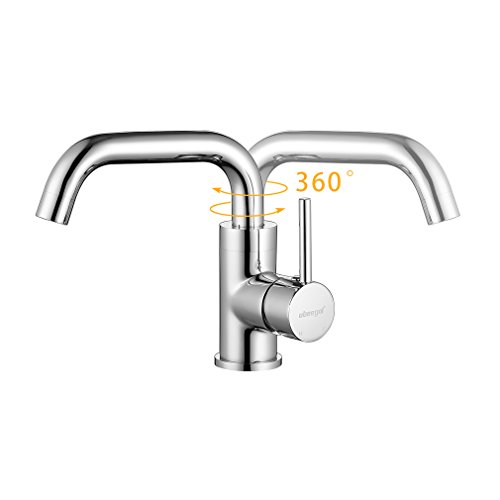 ubeegol 360° Drehbar Wasserhahn Bad Waschtischarmatur Waschbecken Armatur Chrom Einhebelmischer Mischbatterie Badezimmer Küche Spülbecken Küchenarmatur - 2