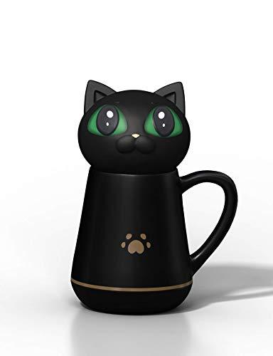 Taza de café con bonita tapa de silicona suave para gatos que...