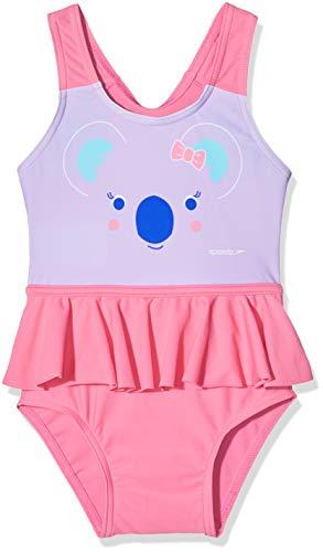 Speedo Koko Koala, Costume da Bagno Decorato Bambina, Galinda/Powder Blush/Blu Marino/Beautiful Blue, 5 Anni