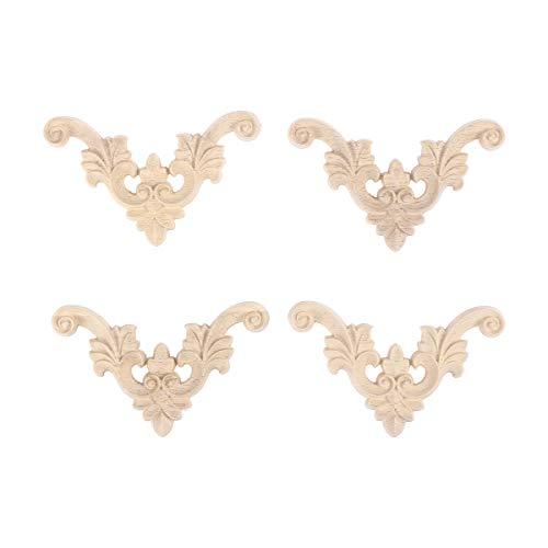 Vosarea 4 Piezas de Madera Tallada Esquina Onlay sin Pintar Apliques Estilo Europeo Puerta gabinete decoración