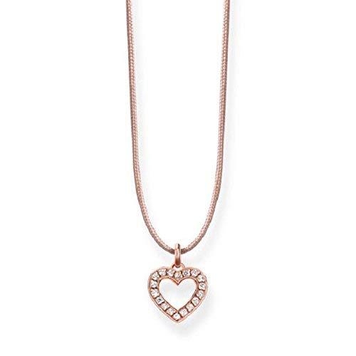 Thomas Sabo - Collar con colgante de Mujer 'Corazón', Plata de Ley 925, baño de oro rosa de 18 quilates, 80 cm