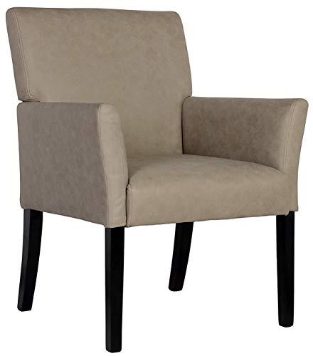 SixBros. 1010/7695 Esszimmerstuhl aus Kunstleder - Polsterstuhl mit Armlehne – Polstersessel in grau – Stuhl für Esszimmer Wohnzimmer Küche
