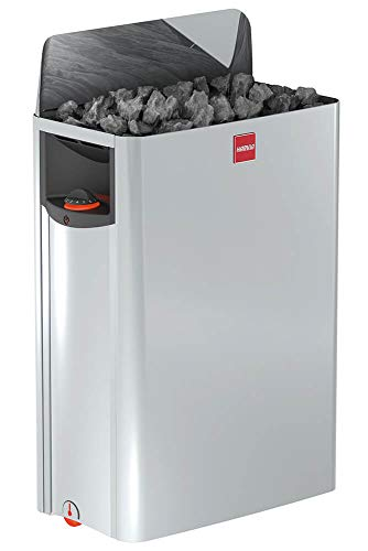 Harvia The Wall SW90 - Estufa eléctrica para sauna (9 kW, control integrado, multivoltaje: monofásico o trifásico, acero inoxidable)