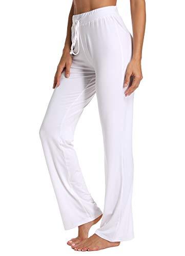 INSTINNCT Damen Hose Jogginghose Freizeithose Schlaghosen Weites Straight Bein mit Tunnelzug #1 Weiß S