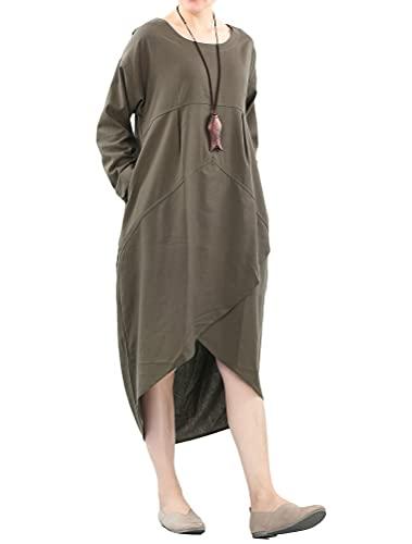 Mordenmiss Women's Cotton Linen Dresses Irregular Hem Shirt Dress with Pockets (2XL, Army Green)