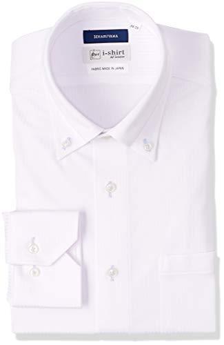 [アイシャツ] i-shirt 完全ノーアイロン ストレッチ 超速乾 スリムフィット 長袖 アイシャツ ワイシャツ メンズ ノンアイロン 025 ホワイト ボタンダウン ピケストライプ M15118004301 M80(首回り39cm×裄丈80cm)