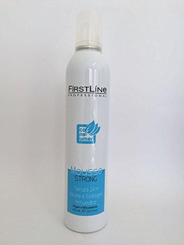 Firstline Mousse coiffante, dure 24 h, volume et maintien, anti-humidité, à l'argan et macadamia, produit professionnel pour coiffeurs et salons de coiffure, 400 ml