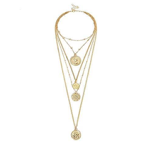Collar de moneda tallada de Color dorado Vintage, medalla de figura, cadena larga, collar de doble capa, colgante, gargantilla para mujer
