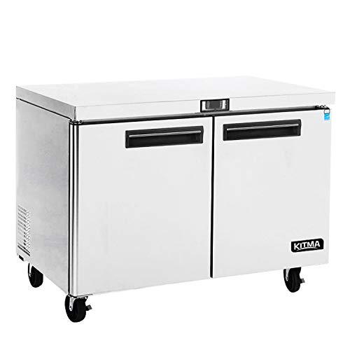 Commercial 2 Door Undercounter Freezer - KITMA 13 Cu. Ft Stainless Steel Worktop best under the counter freezer for Kitchen, 0°F - 8°F