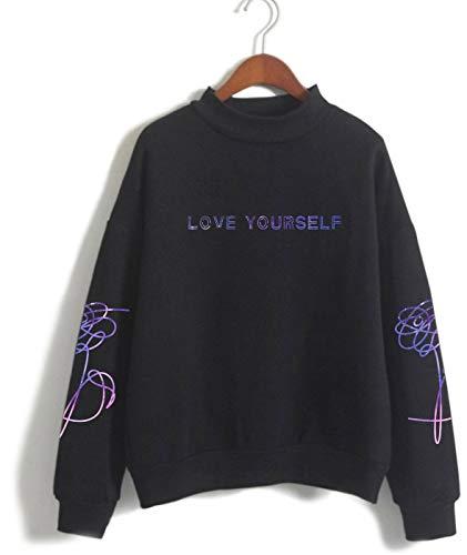 SIMYJOY Mujere Korea Pop Fans Estrellado Sudaderas Love Yourself Niñas Cool Casual Linda Jersey Loose Fitting Top Negro XS