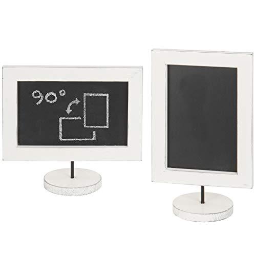 MyGift Tabletop Vintage White Wood Vertical/Horizontal Framed Chalkboard Sign, Set of 2