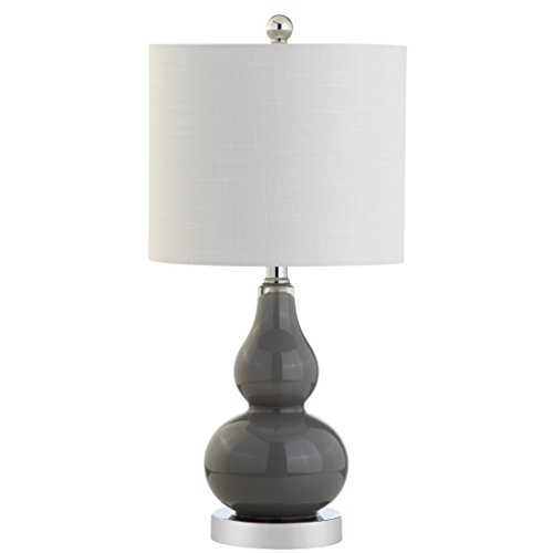 """JONATHAN Y JYL1028A Anya 20.5"""" Mini Glass LED Lamp Transitional,Glam,Midcentury for Bedroom, Living Room, Office, College Dorm, Coffee Table, Bookcase, 1, Gray"""