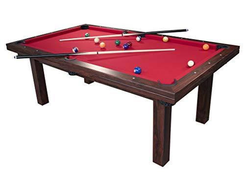 PLAY4FUN JT2D Billard Americain 217 x 125 x 80 cm Table de Billard avec Accessoires : 2 queues de Billard, 1 Triangle, 1 Set de Boules, 1 Brosse, 2 craies (Tapis Rouge)