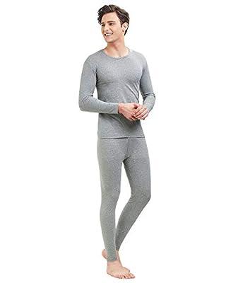 SANQIANG Men's Cotton Thermal Underwear Set Lightweight Warm Long Johns for Men