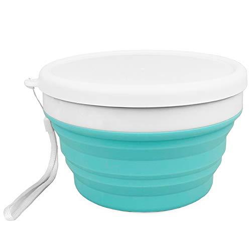 Cuencos de silicona para almacenamiento de alimentos, 900 ml, con tapas, plegables, sin BPA, aptos para microondas, congelador, para camping y senderismo