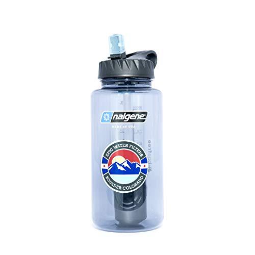 Epic Nalgene OG   Water Filtration Bottle   Wide Mouth 32 oz   American Made Bottle   USA Made Filter Removes 99.99% of Tap Water Contaminants Lead Chlorine Chromium 6 Arsenic Chloroform (Smoke Grey)