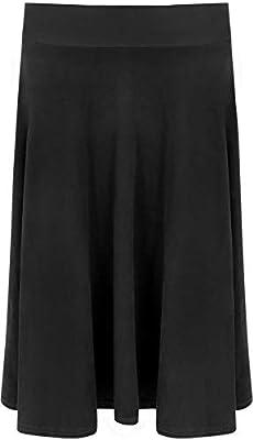 REAL LIFE FASHION LTD Ladies Plain Suede Look Elastic Waist Flared Skirt Women Stretch Knee Long Skirt