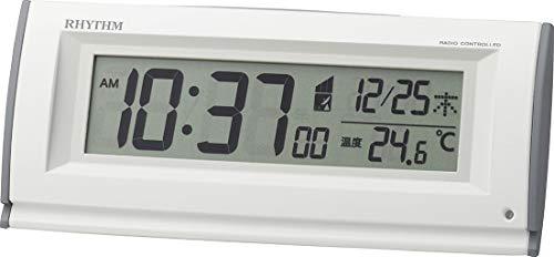 リズム(RHYTHM) 置き時計 白 6.7x16x4.5cm 目覚まし時計 電波時計 暗所 自動 点灯 ライト 8RZ216SR03