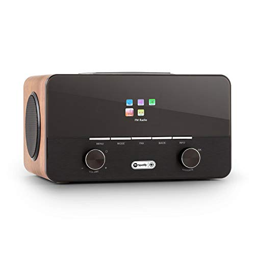 auna Connect 150 WN 2.1-Internetradio (Digitalradio, Netzwerkplayer, Wi-Fi, Spotify-Connect, DAB/DAB+/UKW-Tuner mit RDS, USB, AUX, Breitbandlautsprecher, Wecker, Fernbedienung) walnuss