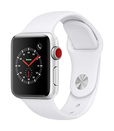 Apple Watch Series 3 (GPS + Cellular) con cassa 38 mm in alluminio color argento e cinturino Sport bianco