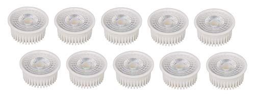 Pack de 10 – Slim LED COB Módulo 230 V – 5 W 400 lm – Profundidad de montaje 30 mm – Repuesto para MR16 GU10 – para baja altura de techo – Blanco Cálido (3000 K)
