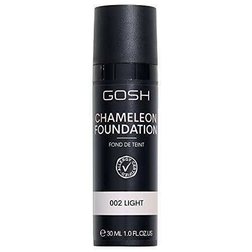 GOSH Chameleon Foundation 30ml, vegan I flüssiges, feuchtigkeitsspendendes Make-up für einen natürlichen Makeup-Look I Augenringe & Unreinheiten abdecken I auch für Allergiker geeignet I 002 Light