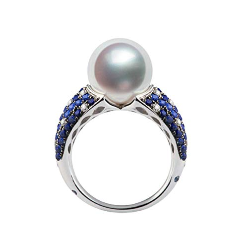 Daesar 18K White Gold Ring Women Anniversary Ring Diamond 0.27ct Elegant Round Round Pearl Engagement Ring Women Silver Ring Size M 1/2