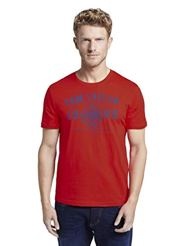 TOM TAILOR Herren T-Shirts/Tops T-Shirt mit Logo-Print Brilliant red,L