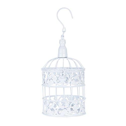 ueetek Ornamento Suspension Casero créatif de la cage d'oiseaux du métal pour la décoration du banquet de mariage (Blanc)
