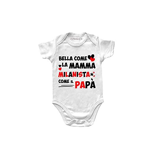 Body Neonata Milan Manica Corta - Bella Come la Mamma, Milanista Come Il papà - Body Bambina Unisex 100% Cotone Morbido e Traspirante - Body Idea Regalo Nascita Bimba - 6 Mesi