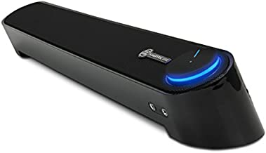 GOgroove Computer Speaker Mini Soundbar - USB Powered PC Sound Bar with Easy Setup Wired AUX, Stereo Audio, Microphone Port, Volume Control Knob, Under Monitor Design for Desktop (Blackout)