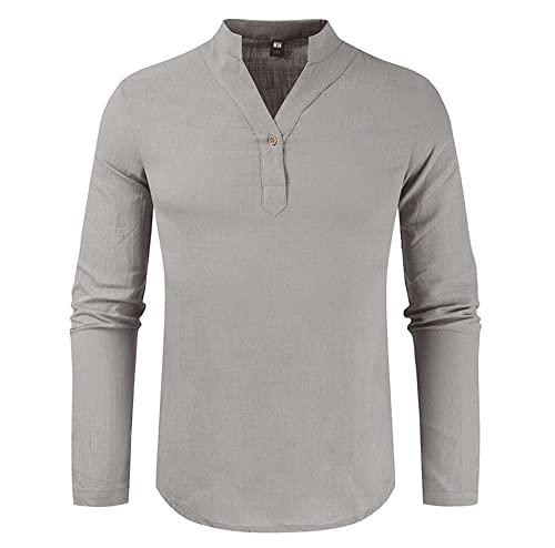 Camisa Hombres Manga Larga Cuello V Color Sólido Sudadera Hombres Regular Fit Cómoda Primavera Otoño Camisa Base Hombres Negocios Casual All-Match Camiseta Hombres