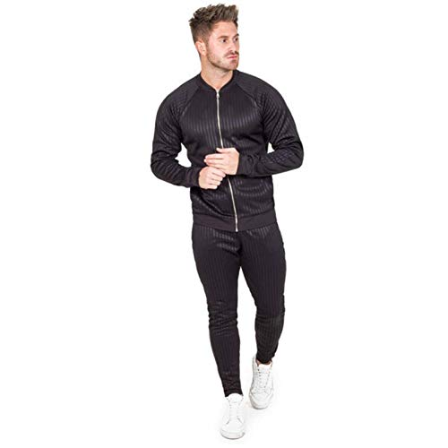 New Muscle Fitness Otoño e Invierno Traje Deportivo a Rayas para Hombre Suéter Informal Fitness Stretch Running Pants